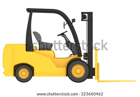 3d render of forklift truck in front projection. industrial trucks - stock photo