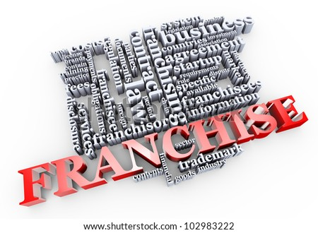 3d render of franchise word cloud - stock photo