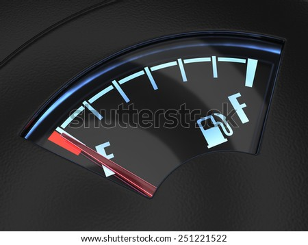 3d render of gas gage with the needle indicating an empty tank. Crisis no fuel concept - stock photo