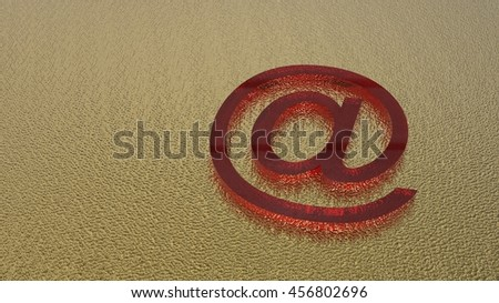 3d render of glass email symbol on golden metal background - stock photo