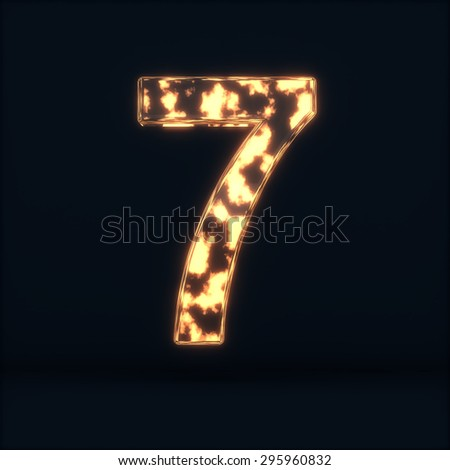 3d render of glass glowing fire digit seven symbol - 7 on the dark background - stock photo