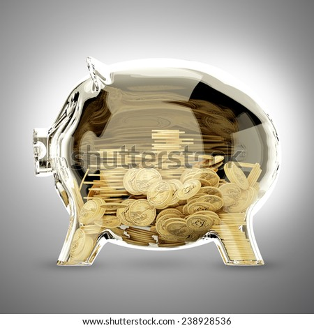 3d render of glass piggy bank half - stock photo