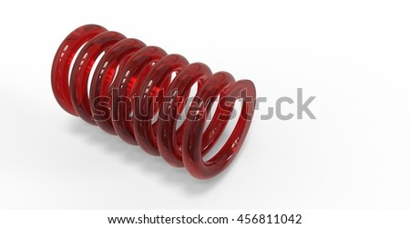 3d render of glass spring   isolated on white background - stock photo