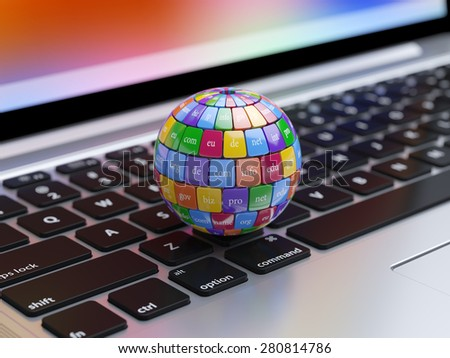 3d render of global internet communication creative abstract internet PC technology and web telecommunication business computer concept. View of computer kwyboard button with color domain name buttons - stock photo