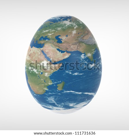 3d render of globe in the shape of an egg on a white background