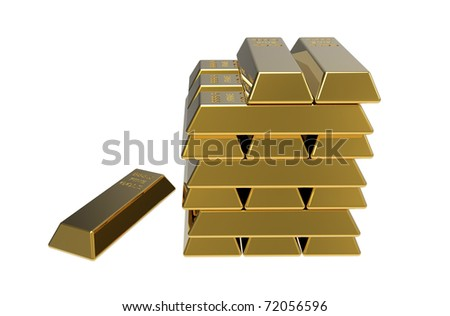 3d render of gold bars on white background - stock photo