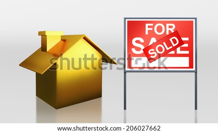 3d render of gold house for sale sold - stock photo