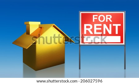 3d render of gold house sky for rent - stock photo