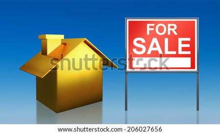 3d render of gold house sky for sale - stock photo