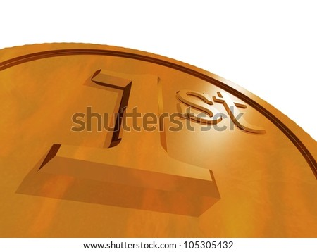 3d render of gold medal - stock photo