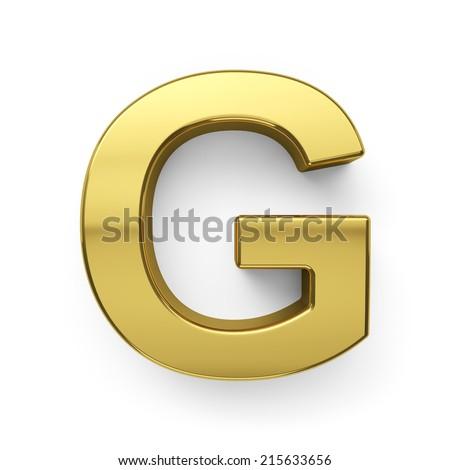 3d render of golden alphabet letter symbol - G. Isolated on white background - stock photo