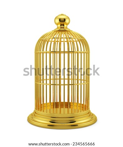 3d render of golden birdcage cage isolated on white background  - stock photo