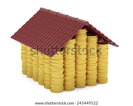 3d render of golden coins house isolated on white background - stock photo