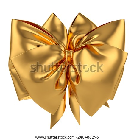 3d render of golden decoration celebration present gift bow isolated on white background - stock photo