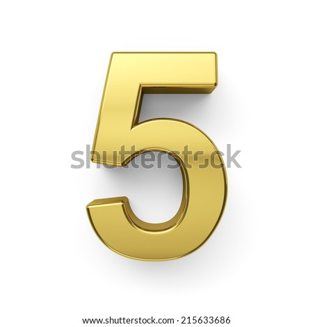 3d render of golden digit five symbol - 5. Isolated on white background - stock photo