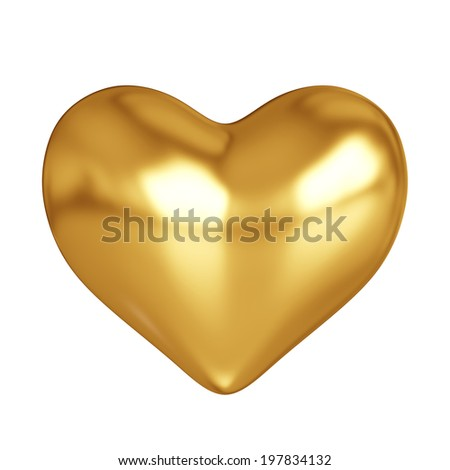 3d render of golden heart on white background  - stock photo