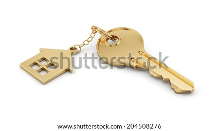 3d render of golden home key isolated on white background. Estate concept  - stock photo