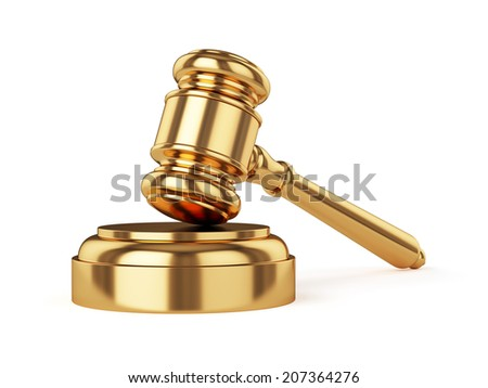 3d render of golden judge gavel isolated on white background  - stock photo