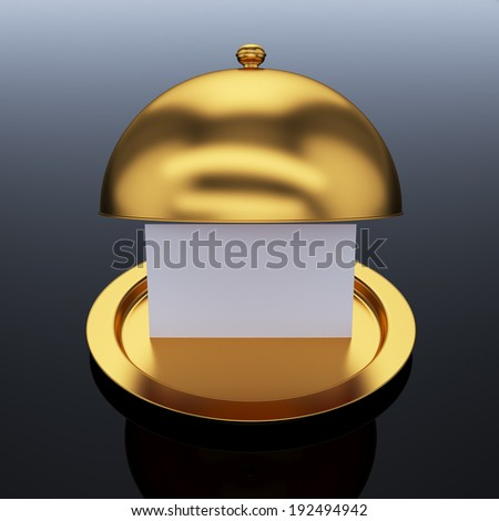 3d render of golden opened cloche with paper template, on grey white background  - stock photo