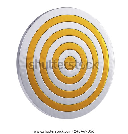 3d render of golden royal target isolated on white background - stock photo