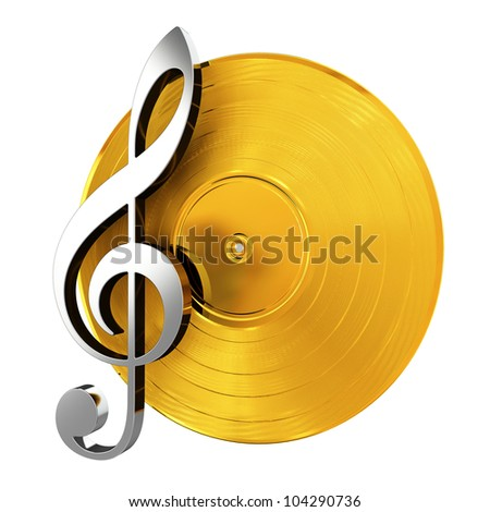 3d render of golden vinyl record with music key - stock photo