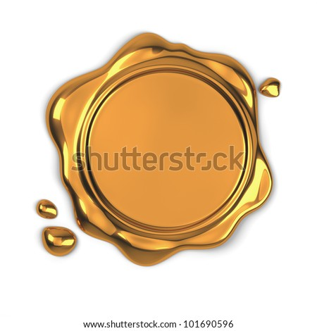 3d render of golden wax seal isolated on white background - stock photo