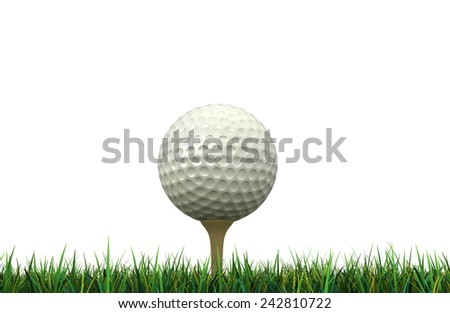 3d render of golf ball and tee isolated over white background - stock photo