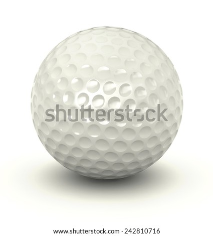 3d render of golf ball over white background - stock photo