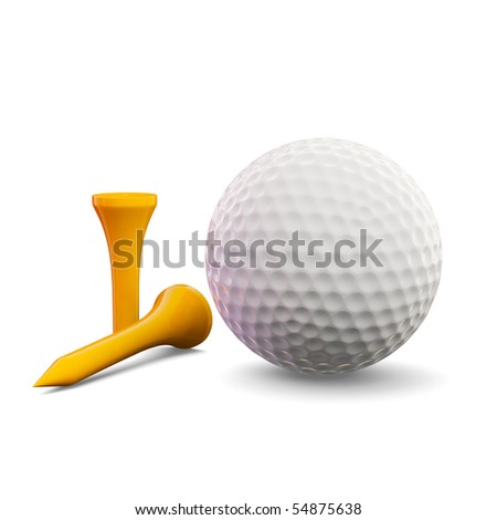 3d render of golf ball with tees