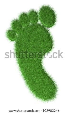 3d render of grass footprint. Concept of nature friendly environment - stock photo
