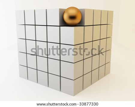 3d render of group of cubes. Teamwork concept. - stock photo