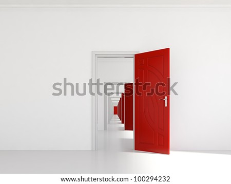 3d render of hallway with many red doors - stock photo
