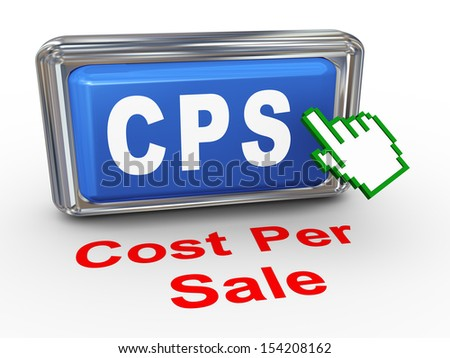 3d render of hand cursor pointer click on button with phrase cps cost per sale