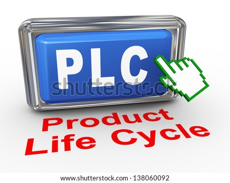 3d render of hand cursor pointer click on button with phrase plc product life cycle