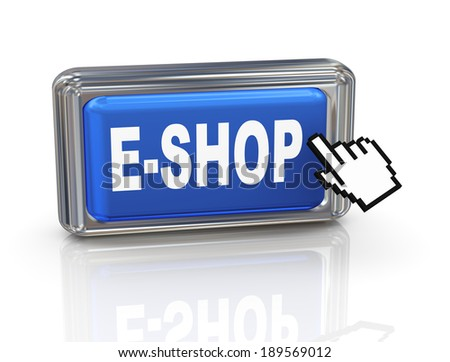 3d render of hand cursor pointer click on e-shop button