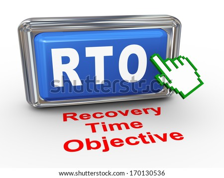 3d render of hand cursor pointer click on rto recovery time objective button