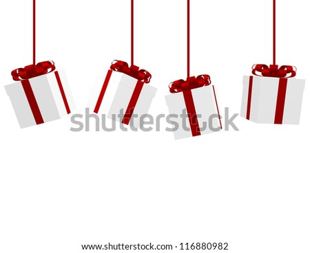 3d Render of Hanging Christmas Presents