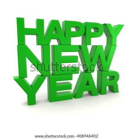 3d render of happy new year over white background