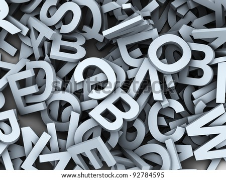 3d render of heap of alphabets - stock photo