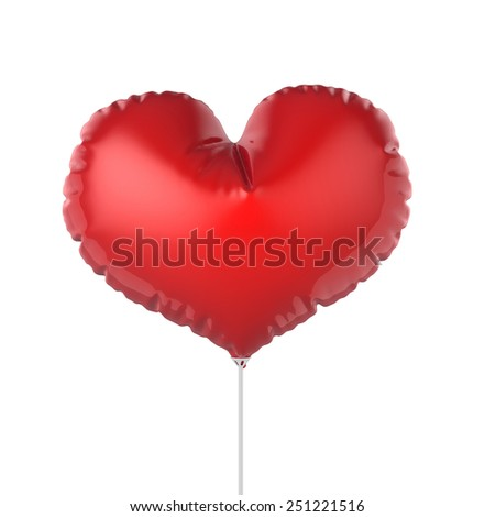 3d render of heart shape red party balloons. Isolated on white background - stock photo