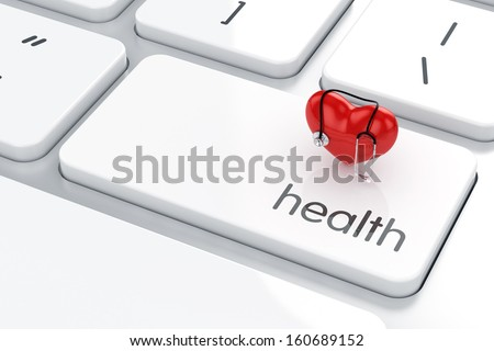 3d render of heart shape with stethoscope icon on the keyboard. Health life concept - stock photo