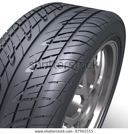 3d render of high detaled tyre on white background