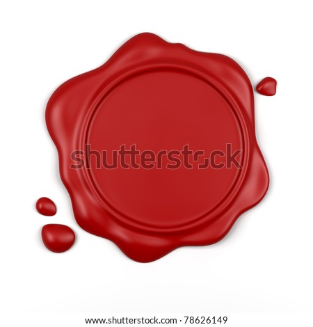 3d render of high resolution red wax seal with drops isolated over white background - stock photo