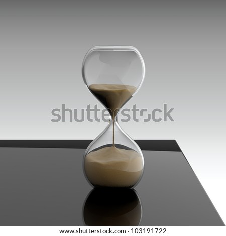 3D render of hourglass on black table - stock photo
