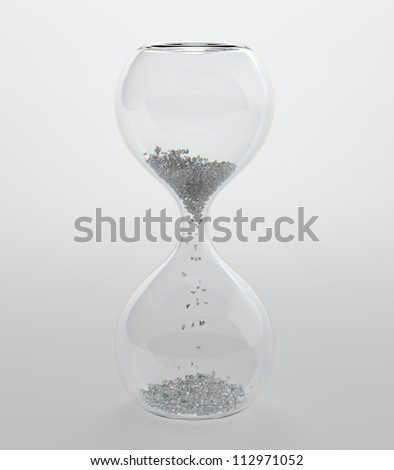 3D render of hourglass with diamond grain - stock photo
