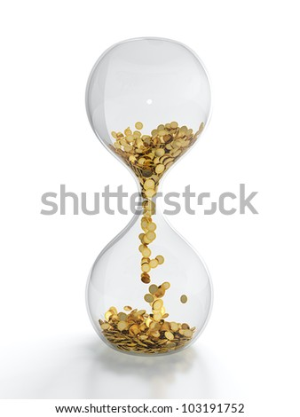 3D render of hourglass with golden coins - stock photo
