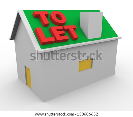 3d render of house and word to let. - stock photo