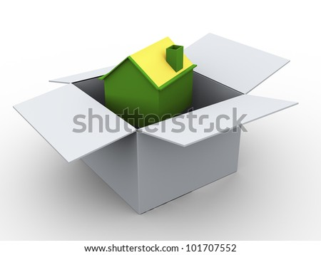 3d render of house in the box