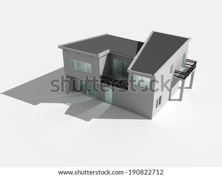 3d render of house isolated on white background - stock photo