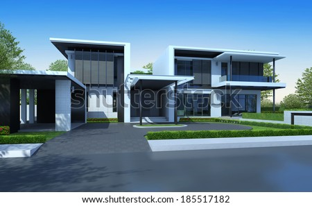 3D render of house with green area - stock photo
